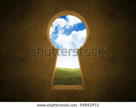 Landscape seen through a keyhole