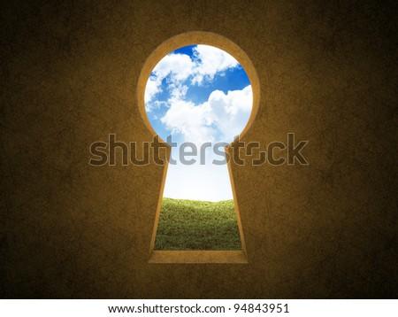 Landscape seen through a keyhole
