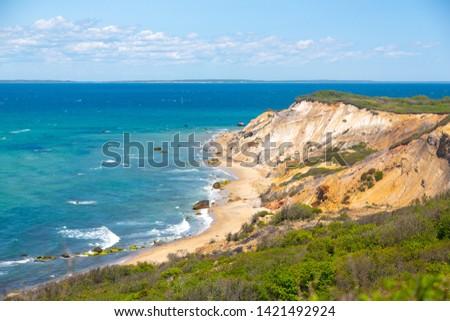 Landscape shot of Aquinnah (Gay Head) Cliffs in Martha's Vineyard, MA Photo stock ©