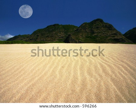 Landscape shot of rippled sand reaching toward green mountains with blue sky behind, with the full moon over the mountain on the left.  Taken at beach in Hawaii - stock photo
