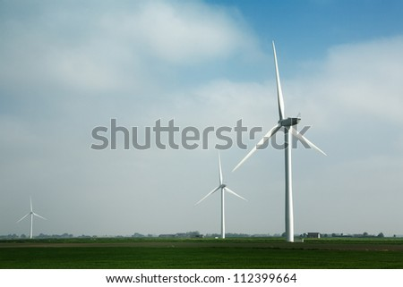 landscape shots of windmill farm near chatteris set in the Cambridgeshire Country Side England
