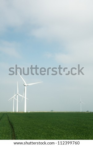 landscape shots of windmill farm near chatteris set in the Cambridgeshire Country Side England - stock photo