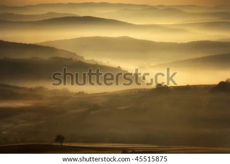 landscape showing a misty morning