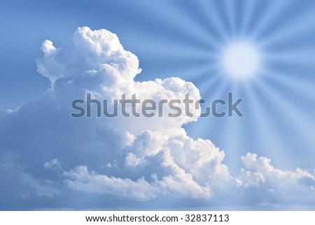 Landscape sky, sun and clouds.