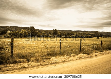 Landscape stylized on vintage with rural scene fields and meadows at summer. Idyllic rural landscape and agricultural.