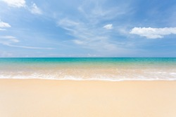 Landscape summer beach background, with the sunny sky at the sea in Phuket, Thailand. Beautiful scene of blue sky and clouds on a sunny day. Empty holiday sea where the horizon can see clearly.