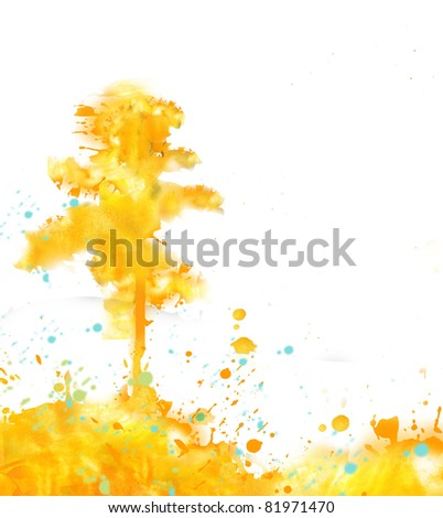 Landscape summer design executed in watercolor technique:  tree on white background.