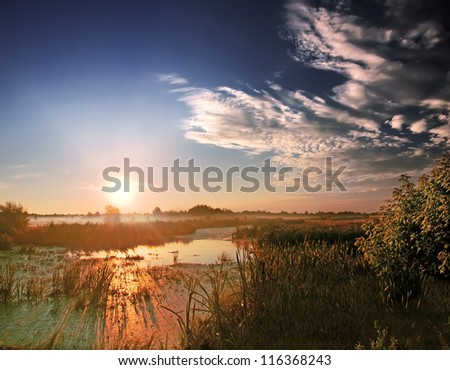 Landscape, sunny dawn at the river
