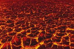 Landscape the ground is full of lava, Lava ground background, Global warming.