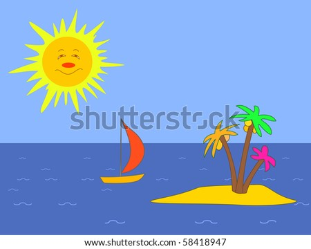 Landscape: the sea, island with palm trees, a sailing vessel and the smiling sun
