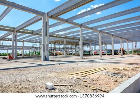 Landscape transform into industrial area, unfinished edifice, under construction, site. #1370836994
