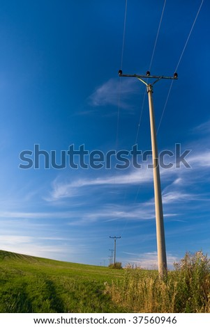Landscape vertical shot electricity posts