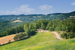 Landscape view Emilia-Romagna, comune of Sasso Marconi. Rural countryside in springtime.