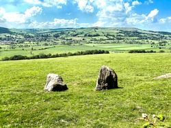 Landscape view from, Crag Lane, of the Aire valley and beyond near, Bradley, Skipton, UK