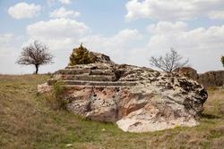 Landscape view from Yazılıkaya acropolis, altar.  Phrygia valley in the middle of Kutahya, Eskisehir, Afyon in Turkey.