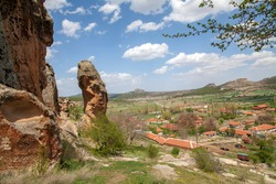 Landscape view from Yazılıkaya acropolis, living areas carved into the rocks. Phrygia valley in the middle of Kutahya, Eskisehir, Afyon in Turkey.