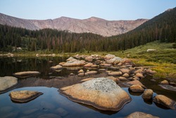 Landscape view of a beautiful lake in the Mount Evans wilderness in Colorado.