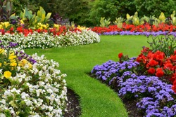 Landscape View of a Beautiful Landscape Garden with a Freshly Mowed Lawn and Flowerbeds in Bloom
