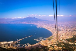 Landscape view of beautiful green mountains and Mount Vesuvius and the Bay of Naples from Mount Faito, Naples (Napoli), Italy, Europe