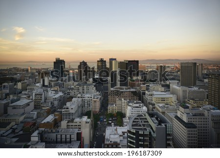 Landscape view of Cape Town's Central Business District The Image was created on 23-05- 2014 from an elevated viewpoint looking to the North with Table Bay in the background