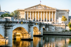 Landscape view of Concordia Bridge with National Assembly of France in Paris