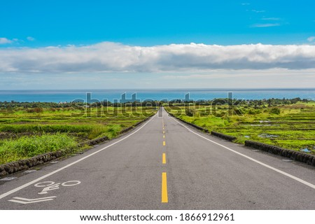 Landscape View Of Diamond Avenue (King Kong Avenue, King Kong Tadao Bike Trails) And Paddy By The Road Next To The Coast Of Pacific Ocean, Taitung, Taiwan Stock photo ©