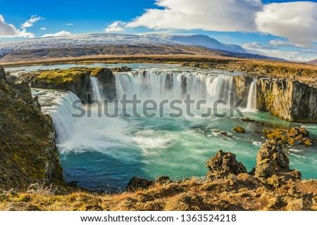 Landscape View Of Godafoss Waterfall Under Clear Blue Sky On Skjalfandafljot River, Northern Region of Iceland #1363524218