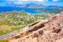 Landscape view of Lipari islands taken from Volcano island, Sicily, Italy