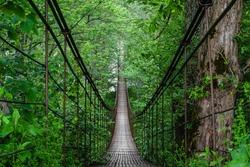 Landscape view of Long Steel Suspension bridge in Russian Mountains