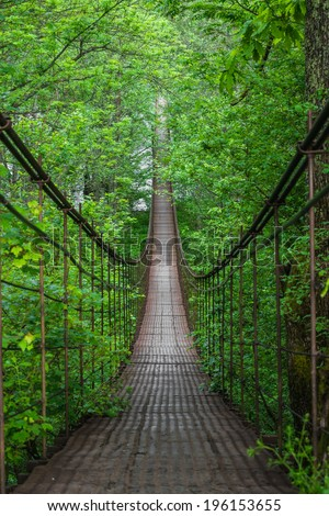 Landscape view of Long Steel Suspension bridge in Russian Mountains #196153655