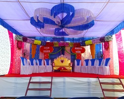 Landscape view of marriage decorations