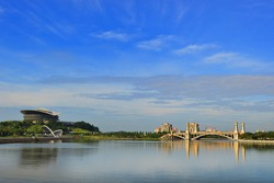 Landscape view of PICC and buildings in Putrajaya,Malaysia. Blue sky with reflection.