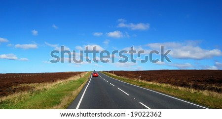 Landscape view of road through Yorkshire Moors.