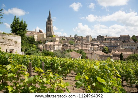 landscape view of Saint Emilion village in Bordeaux region in France #1124964392