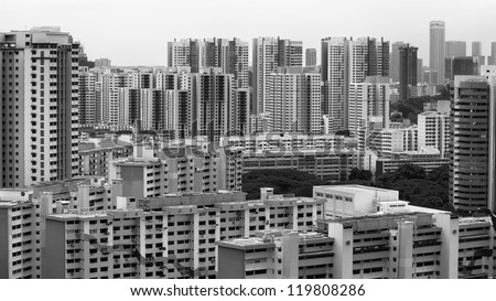 Landscape view of Singapore Housing Estate built by Housing Development of Singapore - Black and White