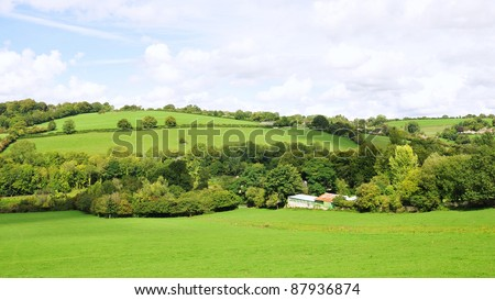 Landscape View of the Avon Valley on the Wiltshire Somerset Border near Bath in England