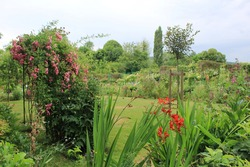 Landscape view of the beautiful Claud Monet's garden on june, famous french impressionist painter's house in Giverny, Normandy, France.