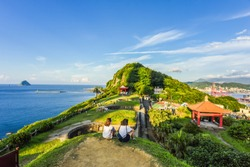 Landscape View Of The Beautiful Keelung Islet And Port From The Historic Baimiweng Fort (Holland Castle) , Keelung, Taiwan