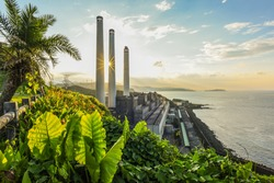 Landscape View Of The Beautiful Ocean Coast With Power Plant Chimneys On The Side At Sunset From The Historic Baimiweng Fort (Holland Castle) , Keelung, Taiwan