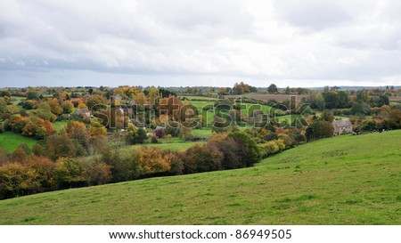 Landscape View of the English Countryside in Autumn - Namely the Village of Tellisford in the Frome Valley in Somerset England