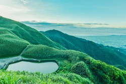 Landscape View Of The Famous Matcha (Green Tea) Mountain On The Peak Of Sacred Mother Historical Trail (Marian Hiking Trail), Jiaoxi, Yilan, Taiwan