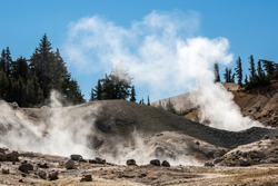 Landscape view of the geothermal features of Bumpass Hell in Lassen Volcanic National Park (California).