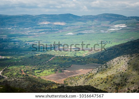 Landscape view of the Golan Heights from fortress Nimrod - the medieval fortress located in northern part of the Golan Heights, on a crest about 800 m high above sea level. National park, Israel #1016647567