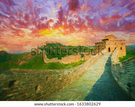 Landscape view of The Great Wall of China along the hilltop during colorful evening sunset, another important tourist attractions place of China.- oil painting