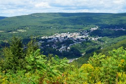 Landscape view of the historic town of Jim Thorpe (formerly Mauch Chunk) in the Lehigh Valley in Carbon County, Pennsylvania, United States