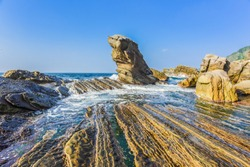 Landscape View Of The Northeast Coast of Taiwan With Fur Seal Rock At Nanya Peculiar Rock Park, New Taipei City, Taiwan