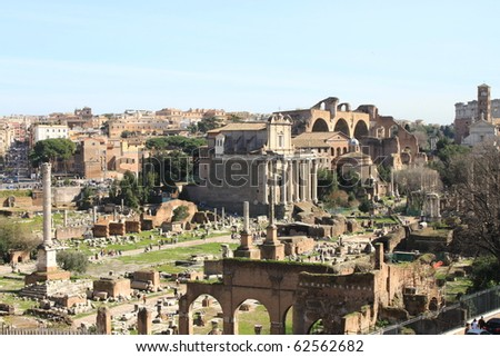 Landscape view of the Roman Forum in Rome, Italy