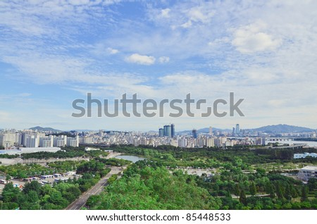 Landscape view of  Town and Park – Seoul
