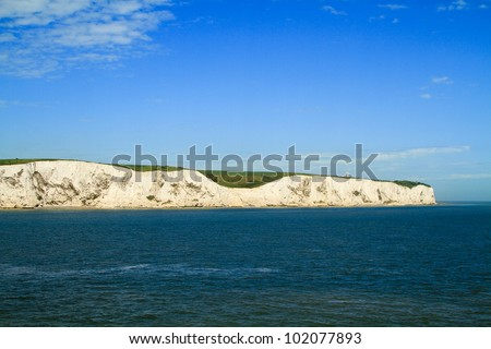 Landscape view of white cliffs of Dover from the sea
