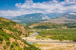 Landscape view on river Black Drin near Koplik in Albania